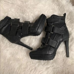 Zara buckled track sole boot pump